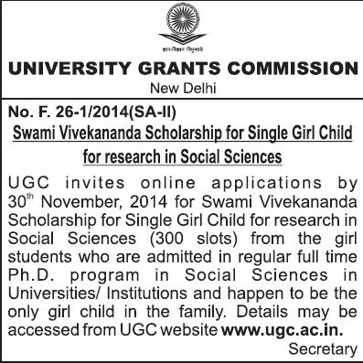 Scholarship for Single girl child (University Grants Commission (UGC))