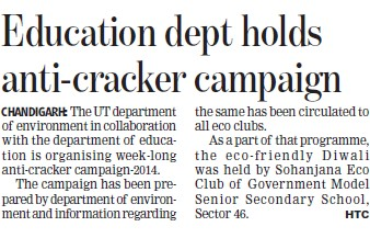 Edu deptt holds anti cracker campaign (Education Department Chandigarh Administration)
