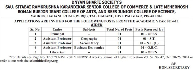 Asstt Professor for Geography (Sau Sitabai Ramkrishna Karandikar College of Arts and Commerce and Late Mehernosh Boman Burjor Irani College of Arts)