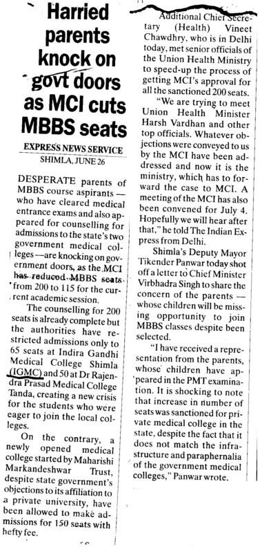 Harried parents knock on govt doors as MCI acts MBBS seats (Indira Gandhi Medical College (IGMC))