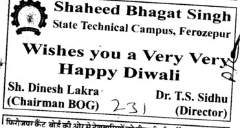 College wishes you Diwali Fest (Shaheed Bhagat Singh State (SBBS) Technical Campus)