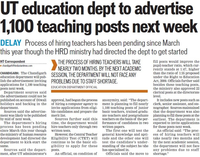 Deptt to advertise 1100 teaching posts next week (Education Department Chandigarh Administration)