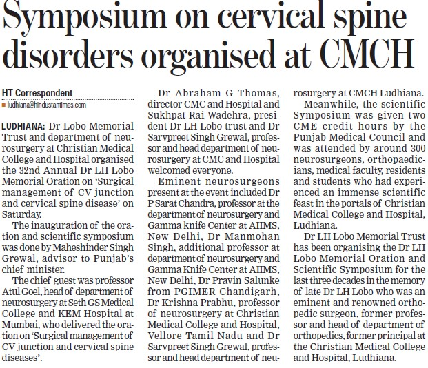 Symposium on cervical spine disorders organised (Christian Medical College and Hospital (CMC))