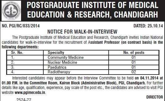 Asstt Professor for Nuclear Medicine (Post-Graduate Institute of Medical Education and Research (PGIMER))