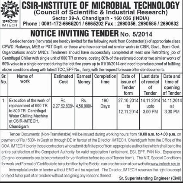 Replacement work of centrifugal water chilling machine (Institute of Microbial Technology (IMTECH))