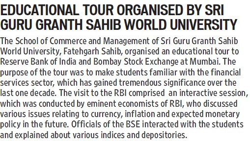 Educational tour organised (Sri Guru Granth Sahib World University)