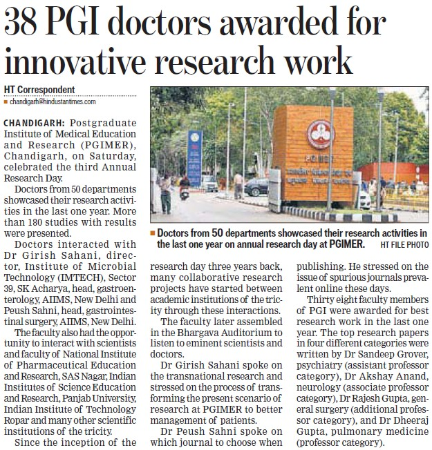 38 PGI doctors awarded for innovative research work (Post-Graduate Institute of Medical Education and Research (PGIMER))