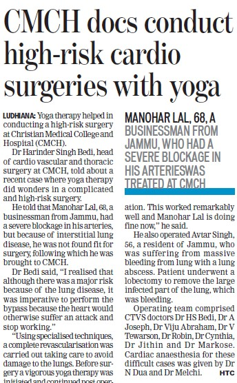 CMCH docs conduct high risk cardio surgeries with Yoga (Christian Medical College and Hospital (CMC))