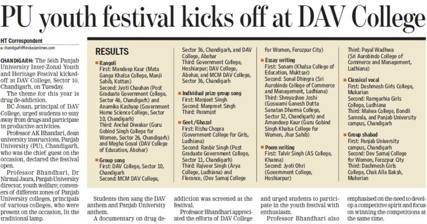 Youth Fest kicks off at DAV College (DAV College Sector 10)