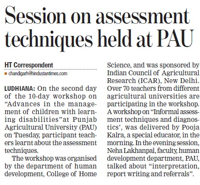 Session on assessment techniques held (Punjab Agricultural University PAU)