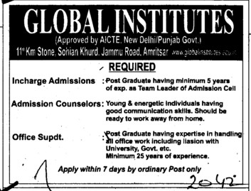 Office Superintendent (Global Institutes Group)