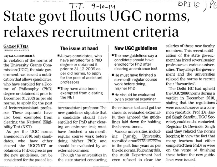 State govt flouts UGC norms (DPI Colleges Punjab)