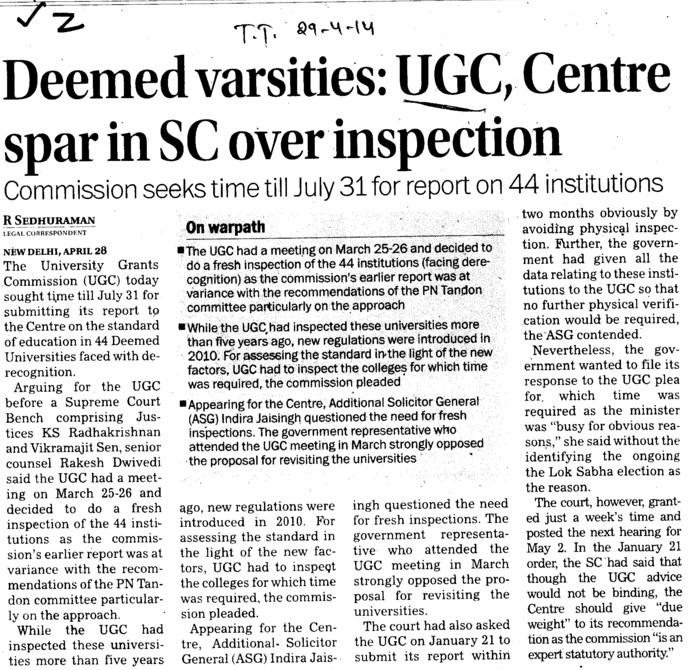 UGC Centre spar in SC over inspectiob (University Grants Commission (UGC))