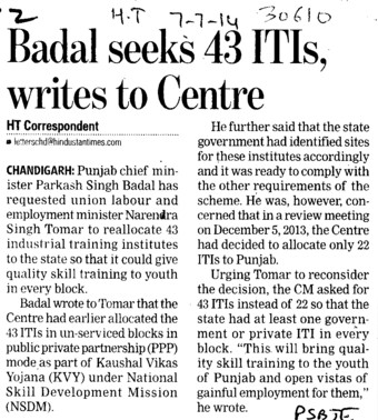 Badal seeks 43 ITIs writes to centre (Punjab State Board of Technical Education (PSBTE) and Industrial Training)