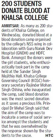 200 students donate blood (Khalsa College)