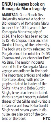 GNDU releases book on Komagata Maru tragedy (Guru Nanak Dev University (GNDU))