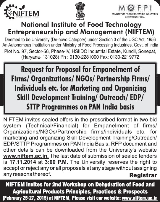 Empanelment of Firms (National Institute of Food Technology Entrepreneurship and Management (NIFTEM))