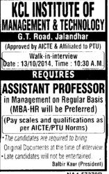 Asstt Professor on regular basis (KCL Institute of Management and Technology)