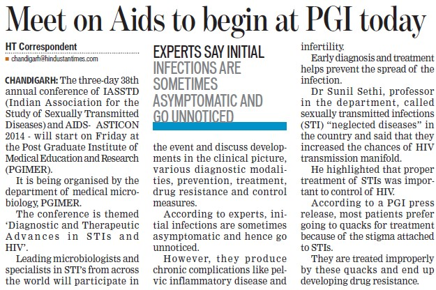 Meet on AIDS to begin at PGI today (Post-Graduate Institute of Medical Education and Research (PGIMER))
