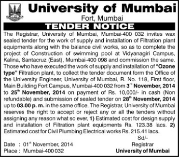 Installation of Filtration Plant equipments (University of Mumbai (UoM))