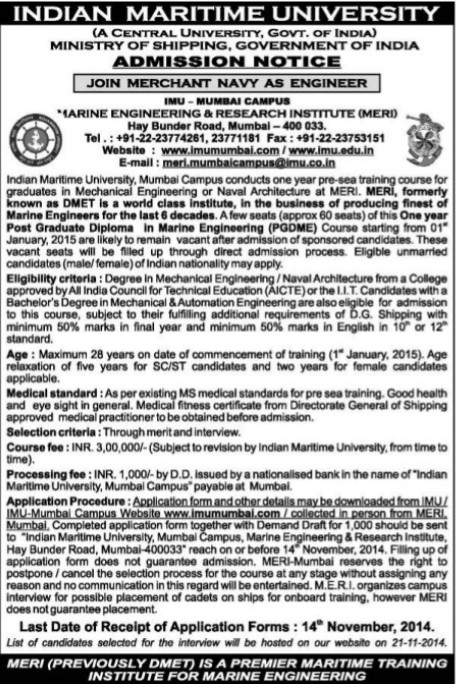 Post Graduate Diploma in Marine Engineering (Indian Maritime University)