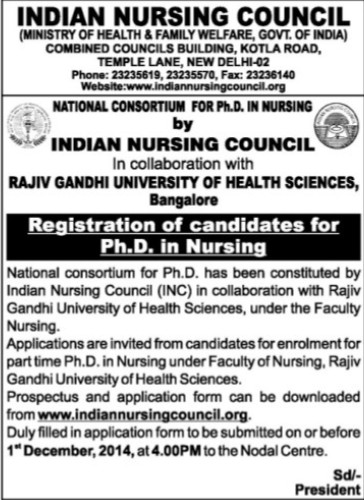 Registration of candidates for PhD Nursing (Indian Nursing Council (INC))