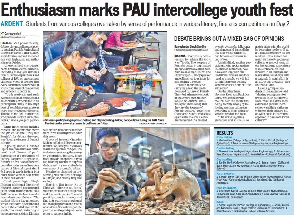 Enthusiasm marks PAU intercollege youth fest (Punjab Agricultural University PAU)