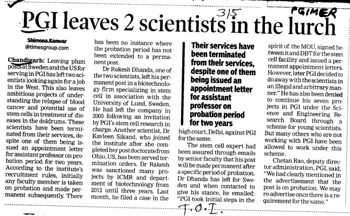 PGI leaves 2 scientists in the lurch (Post-Graduate Institute of Medical Education and Research (PGIMER))