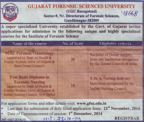 MSc in Forensic Odontology (Gujarat Forensic Sciences University)