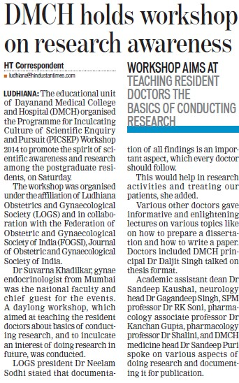DMCH holds workshop on research awareness (Dayanand Medical College and Hospital DMC)