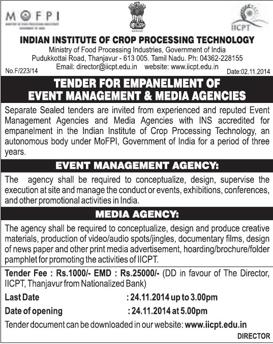 Empanelment of Event Management and Media Agencies (Indian Institute of Crop Processing Technology (IICPT))