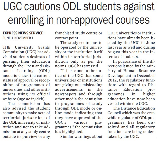 UGC cautions ODL students against enrolling in non approved courses (University Grants Commission (UGC))