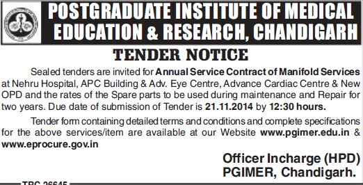 Annual Service Contract of Manifold Services (Post-Graduate Institute of Medical Education and Research (PGIMER))