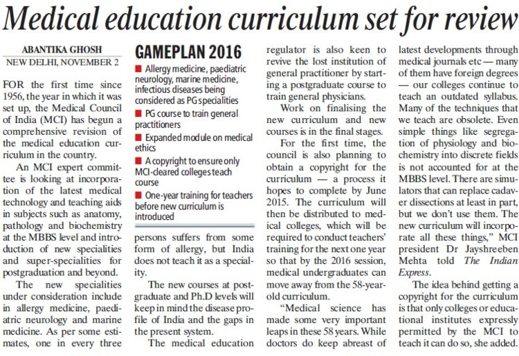 Medical Education curriculum set for review (Medical Council of India (MCI))