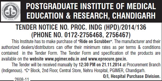 Purchase of Ride on Scrubber (Post-Graduate Institute of Medical Education and Research (PGIMER))