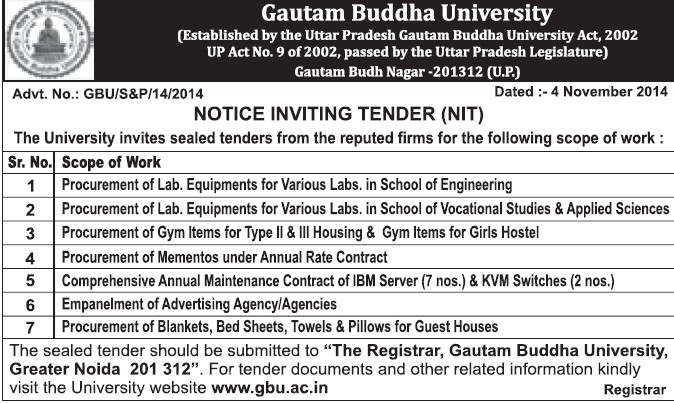 Procurement of Lab Equipments (Gautam Buddha University (GBU))