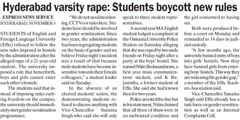 Hyderabad Rape, Students boycott new rules (English and Foreign Languages University)