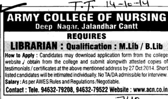 Librarian required (Army College of Nursing)