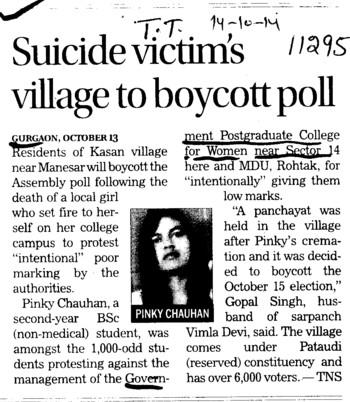 Suicide Victims, village to boycott poll (Government Girls College Sector 14)