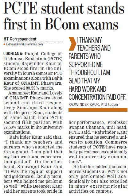 PCTE student stands first in BCom exams (Punjab College of Technical Education)
