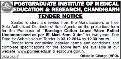Purchase of Bandage Cotton loose wove rolled (Post-Graduate Institute of Medical Education and Research (PGIMER))