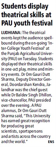 Students display theatrical skills (Punjab Agricultural University PAU)
