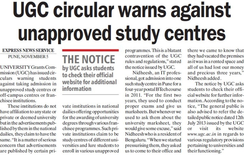 UGC circular warns against unapproved study centres (University Grants Commission (UGC))