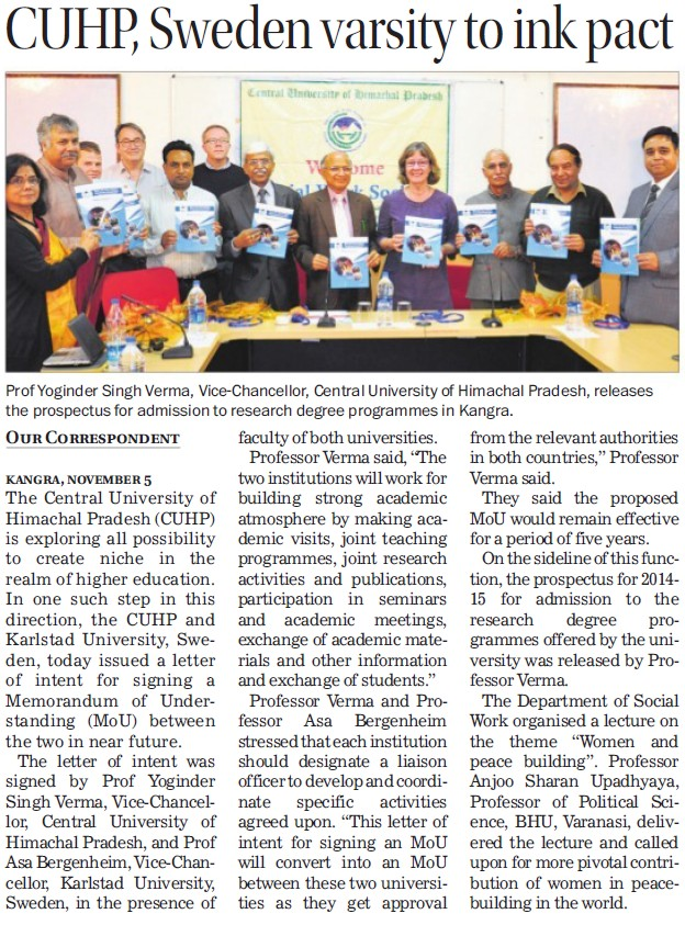 CUHP, Sweden varsity to ink pact (Central University of Himachal Pradesh)