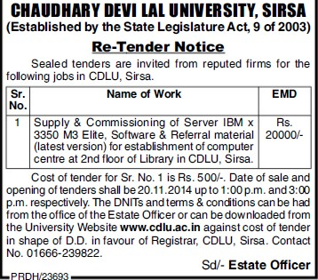 Supply of Referral material (Chaudhary Devi Lal University CDLU)