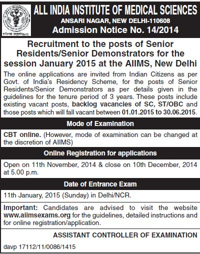 Senior Demonstrators (All India Institute of Medical Sciences (AIIMS))
