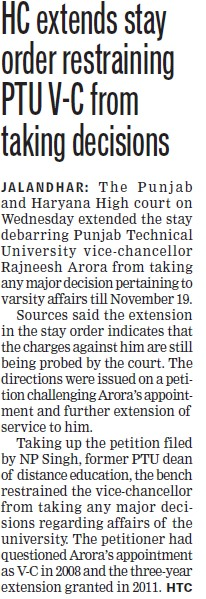 HC extends stay Order restraining PTU VC from taking decision (Punjab Technical University PTU)