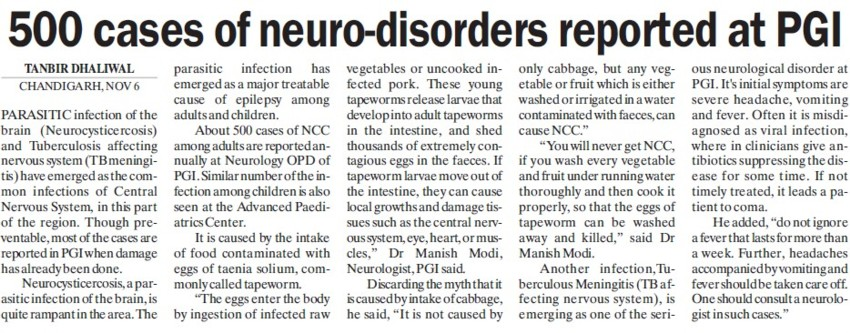 500 cases of neuro disorders reported (Post-Graduate Institute of Medical Education and Research (PGIMER))