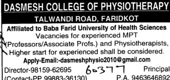 Asstt Professor for Physiotherapisy (Dashmesh College of Physiotherapy)