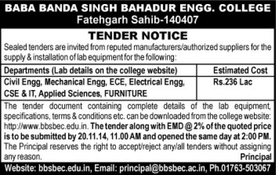 Supply of Lab equipments (Baba Banda Singh Bahadur Engineering College (BBSBEC))